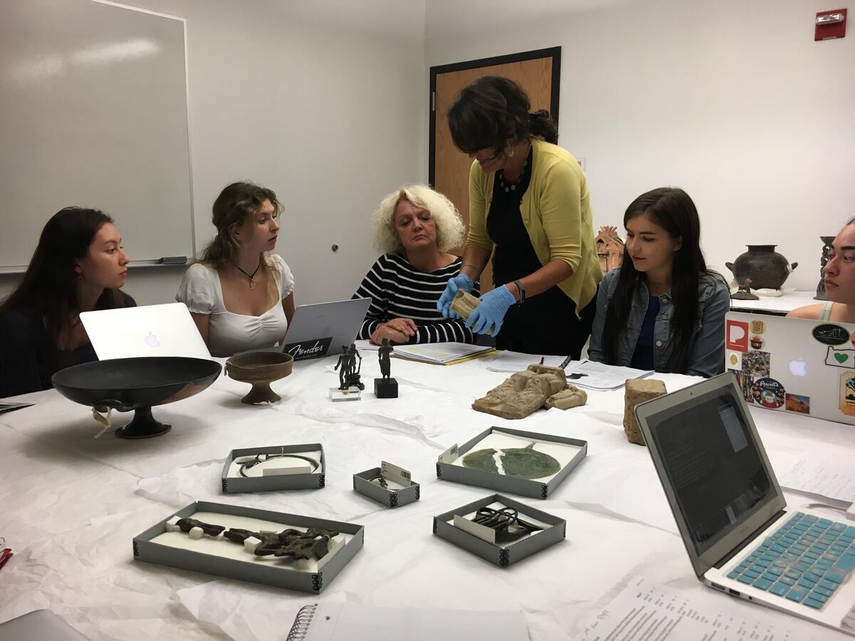 Lisa Pieraccini and a team of students study the Etruscan material at the Hearst Museum